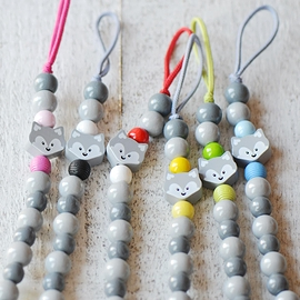 AS1 Pacifier clip with wolf grey / light grey / one color