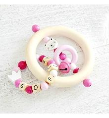 ADP2 - Anneau de dentition personnalisé chat blanc, blanc / rose bonbon / rose pâle / fuschia