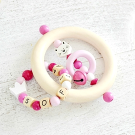 ADP2 - Personalized Teething toy white cat, white / dark pink / light pink