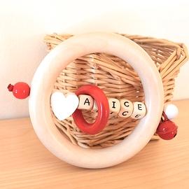 ADP11 - Anneau de dentition personnalisé coeur blanc / Rouge / naturel (maximum 5 lettres)