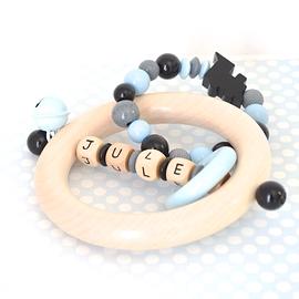 ADP4 - Anneau de dentition personnalisé Train, noir / gris / bleu clair
