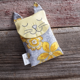 Calm & Confort Bag, flowers cat, yellow grey