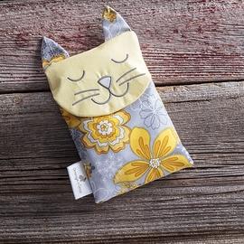 Sac réconfort Chat jaune / gris fleuri