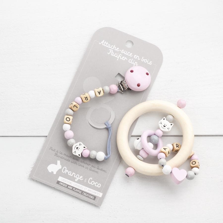Kit4 personalized gift set cat baby pink light grey white negle Images