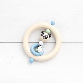 AD13 - Anneau de dentition panda naturel / noir / menthe / bleu / blanc