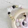 ADP7 - Anneau de dentition personnalisé Coeur, rose / noir / doré