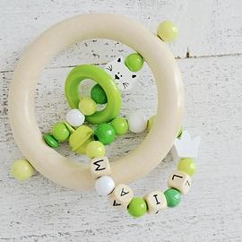 ADP1 - Anneau de dentition personnalisé chat blanc, blanc / vert / jaune vert