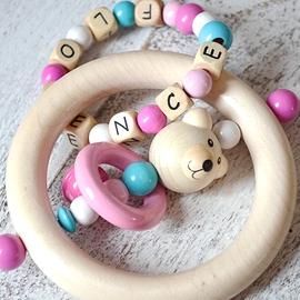 ADP8 - Anneau de dentition personnalisé ourson, turquoise / blanc / rose / rose bonbon
