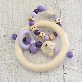 ADP13 - Anneau de dentition personnalisé ours / lilas / bleu mauve / violet