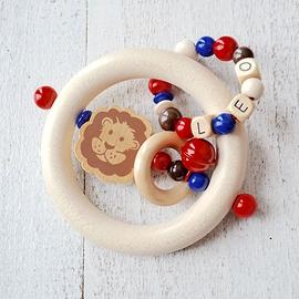 ADP12 - Anneau de dentition personnalisé lion / Marron / rouge / bleu / naturel
