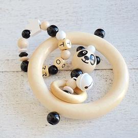 ADP14 - Anneau de dentition personnalisé panda / blanc / naturel / noir