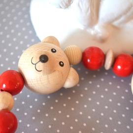 AS3 Attache-suce ours naturel, rouge et naturel