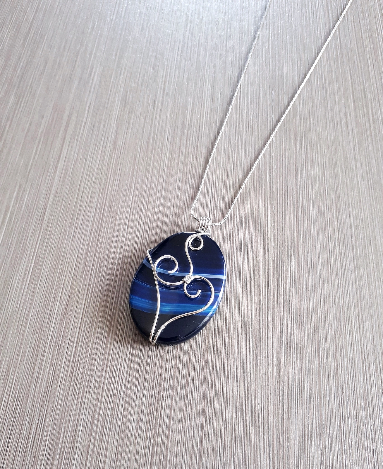 Wire wrapped blue onyx pendant aloadofball Image collections