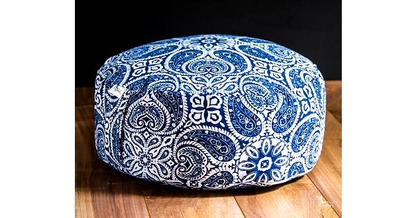 Zafu pouf lavable mandala bleu coussin de m ditation avec for Housse de coussin rouge