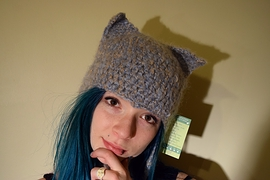 Tuque chat grise