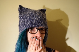 Tuque chat lilas
