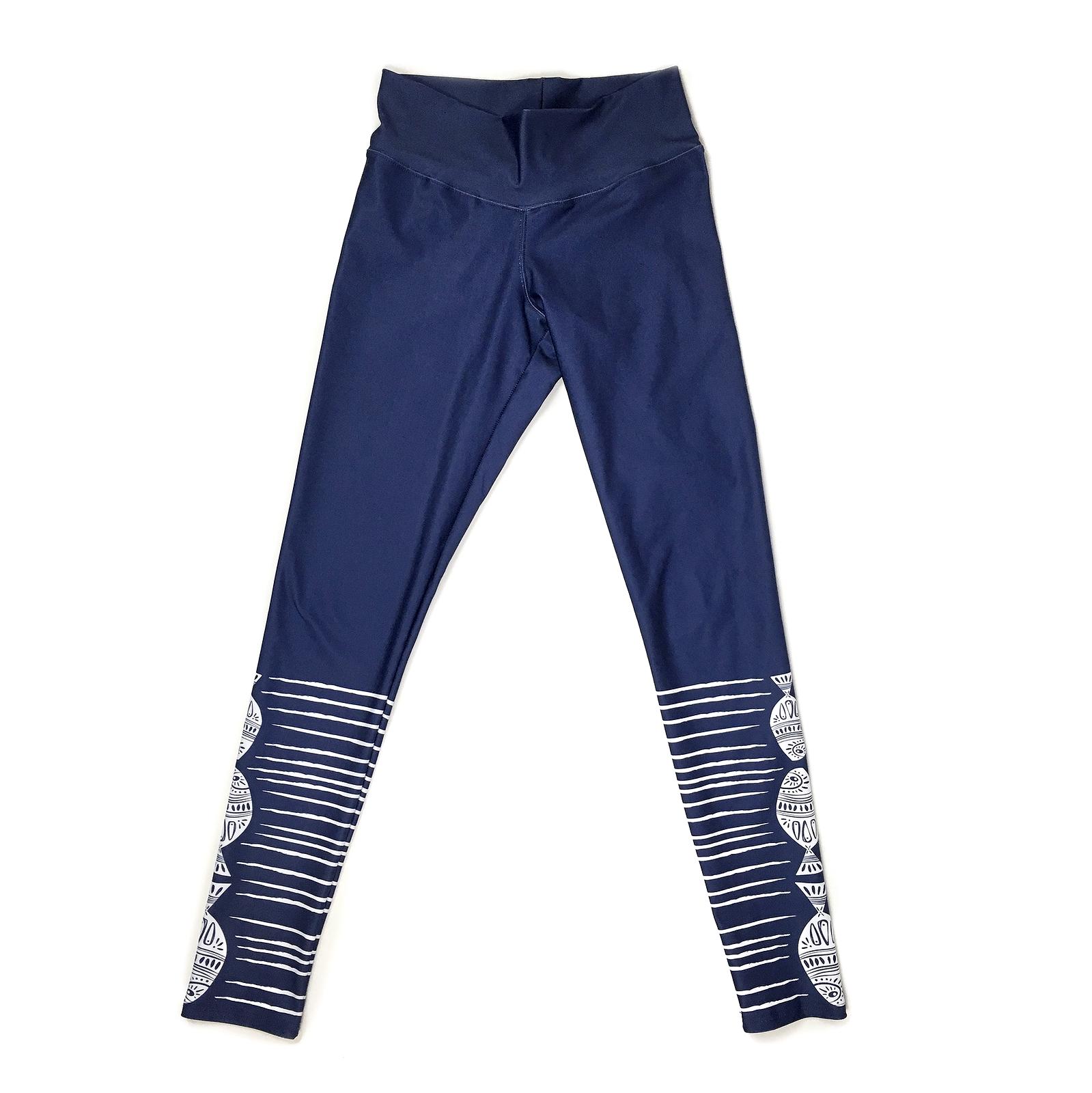 marques reconnues choisir le plus récent grande remise Legging en polyester-lycra bleu, avec dessin de poisson blanc
