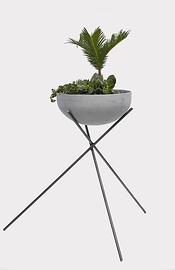 Support en acier et assiette de succulentes