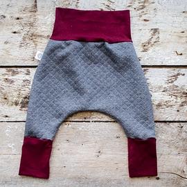 Pantalons Sarouel matelassé gris et bordeaux