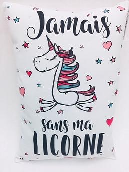 LICORNE COUSSIN BLANC JAMAIS SANS MA LICORNE