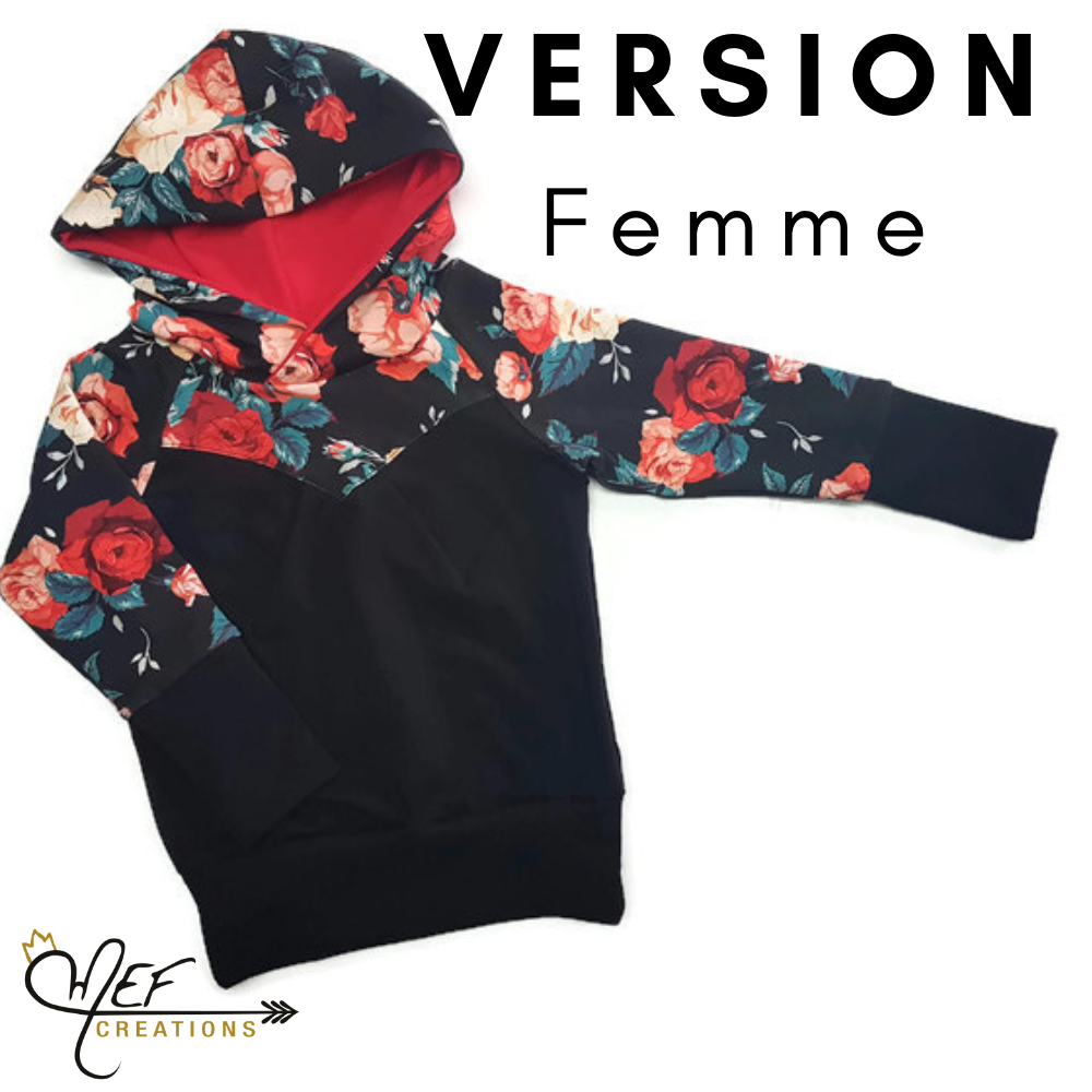 Woman Black Hooded Sweater With Red Roses Cooking Shop