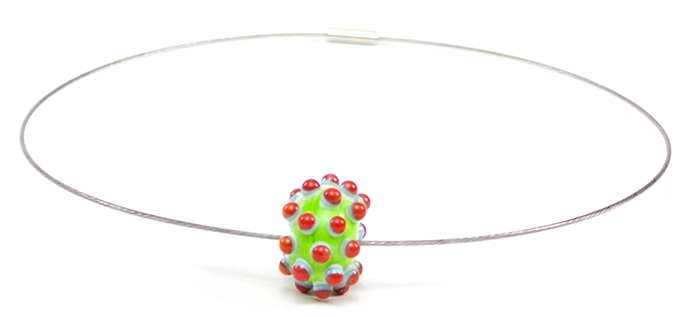 Bloup colored glass bead necklace - welmo studio - handmade in canada