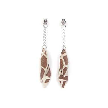 Boucles d'oreilles feuilles motif Girafe