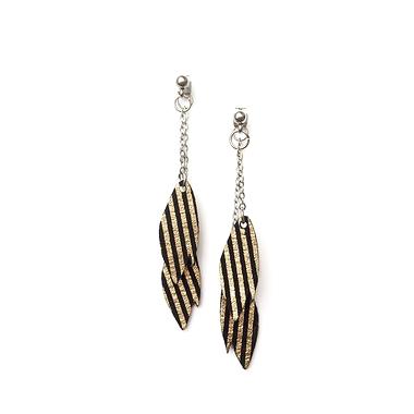 Boucles d'oreilles feuilles cuir noir et or