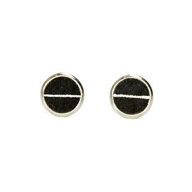Boucles d'oreilles cuir noir ligné