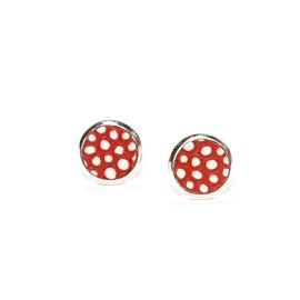 Boucles d'oreilles cuir rouge à pois
