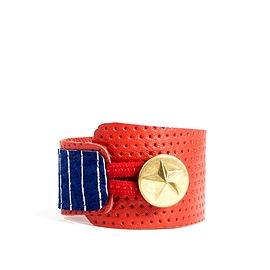 Bracelet femme cuir recyclé rouge rayé bleu