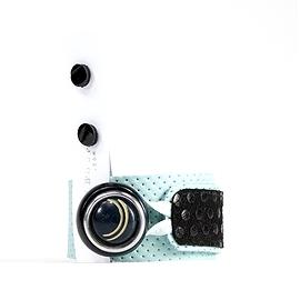 Duo bracelet cuir recyclé bleu et noir et boucles d'oreilles
