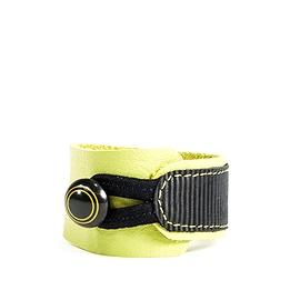 Bracelet femme cuir recyclé vert rayé noir
