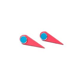 Boucles d'oreilles cuir ''vampire'' turquoise et corail