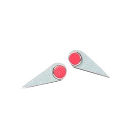 Boucles d'oreilles cuir ''vampire'' corail et vert tendre
