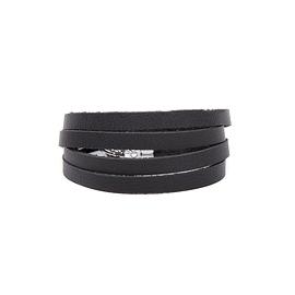 Bracelet femme 4 tours cuir noir mat