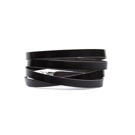 Bracelet femme 4 tours cuir noir brillant