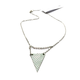 Collier court triangle double turquoise