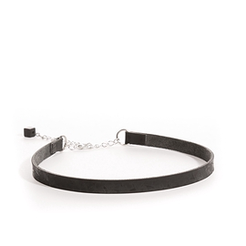 Collier ''choker'' cuir recyclé noir simple