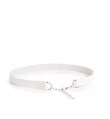 Collier ''choker'' cuir recyclé blanc simple