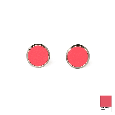Super pink leather earrings