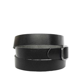 Bracelet femme enroulé cuir recyclé noir