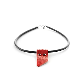Collier cuir recyclé rouge simple