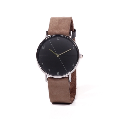 Suede brown leather with black dial men's watch