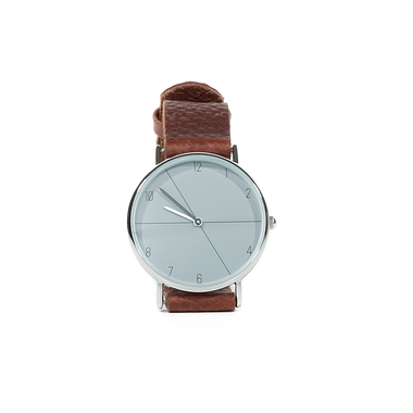Grey  and brown leather men's watch