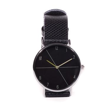 Black leather men's watch black dial