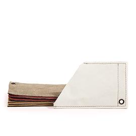 Pochette à cartes en cuir gris-blanc