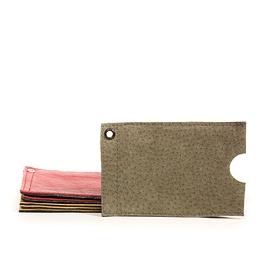 Pochette à cartes en cuir vert
