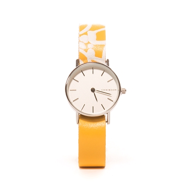 Screen printed yellow leather women's watch