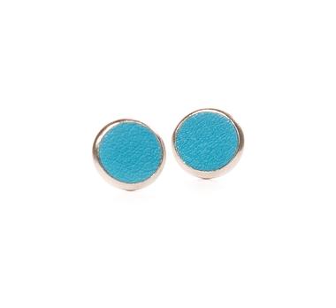 Boucles d'oreilles cuir bleu turquoise